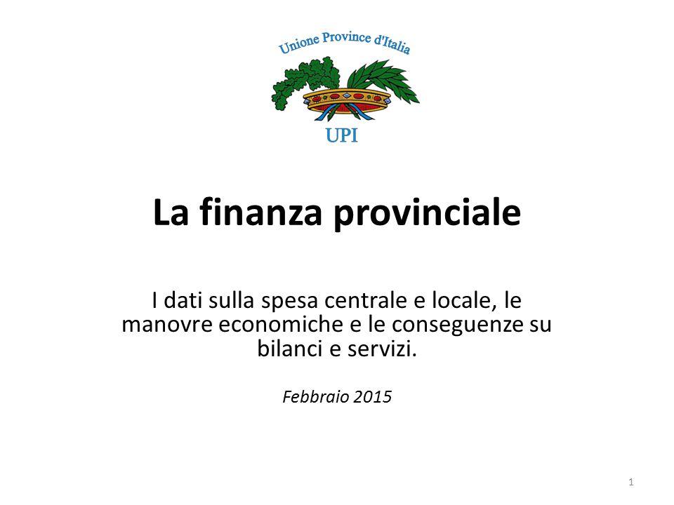 La finanza provinciale I dati sulla spesa centrale e locale, le manovre economiche e le conseguenze su bilanci e servizi.