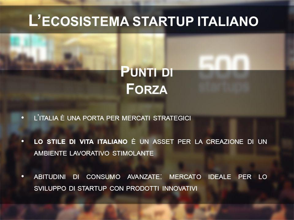 L ' ITALIA È UNA PORTA PER MERCATI STRATEGICI LO STILE DI VITA ITALIANO È UN ASSET PER LA CREAZIONE DI UN AMBIENTE LAVORATIVO STIMOLANTE ABITUDINI DI