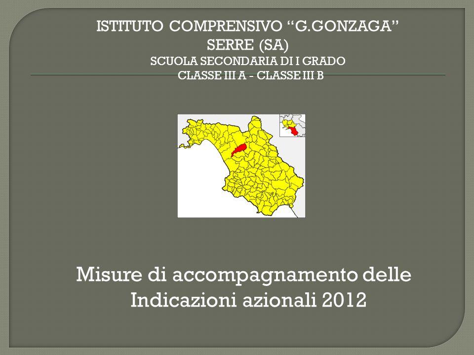 """Misure di accompagnamento delle Indicazioni azionali 2012 ISTITUTO COMPRENSIVO """"G.GONZAGA"""" SERRE (SA) SCUOLA SECONDARIA DI I GRADO CLASSE III A - CLAS"""