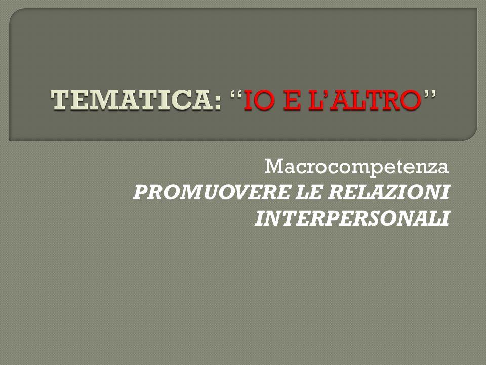 Macrocompetenza PROMUOVERE LE RELAZIONI INTERPERSONALI