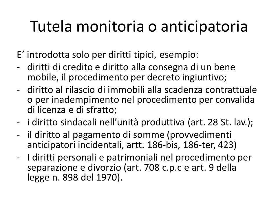 Tutela monitoria o anticipatoria E' introdotta solo per diritti tipici, esempio: -diritti di credito e diritto alla consegna di un bene mobile, il pro