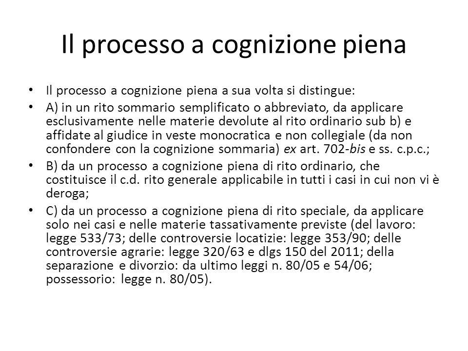Il processo a cognizione piena Il processo a cognizione piena a sua volta si distingue: A) in un rito sommario semplificato o abbreviato, da applicare