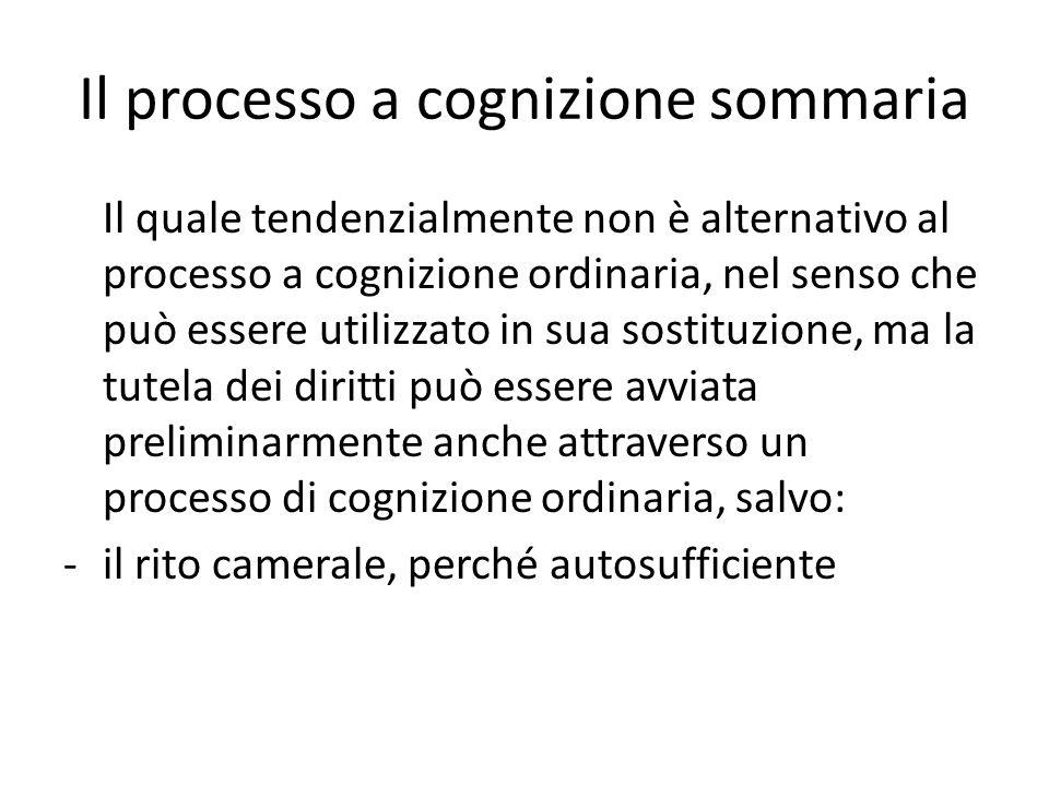 Il processo a cognizione sommaria Il quale tendenzialmente non è alternativo al processo a cognizione ordinaria, nel senso che può essere utilizzato in sua sostituzione, ma la tutela dei diritti può essere avviata preliminarmente anche attraverso un processo di cognizione ordinaria, salvo: -il rito camerale, perché autosufficiente