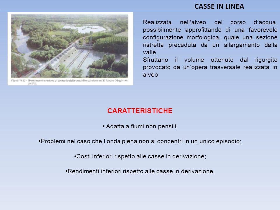CASSE IN DERIVAZIONE Utilizzano i volumi invasabili nelle zone adiacenti il corso d'acqua.