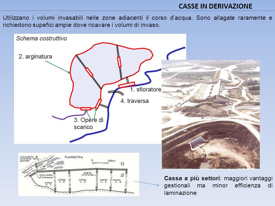 CASSE IN DERIVAZIONE Utilizzano i volumi invasabili nelle zone adiacenti il corso d'acqua. Sono allagate raramente e richiedono supefici ampie dove ri