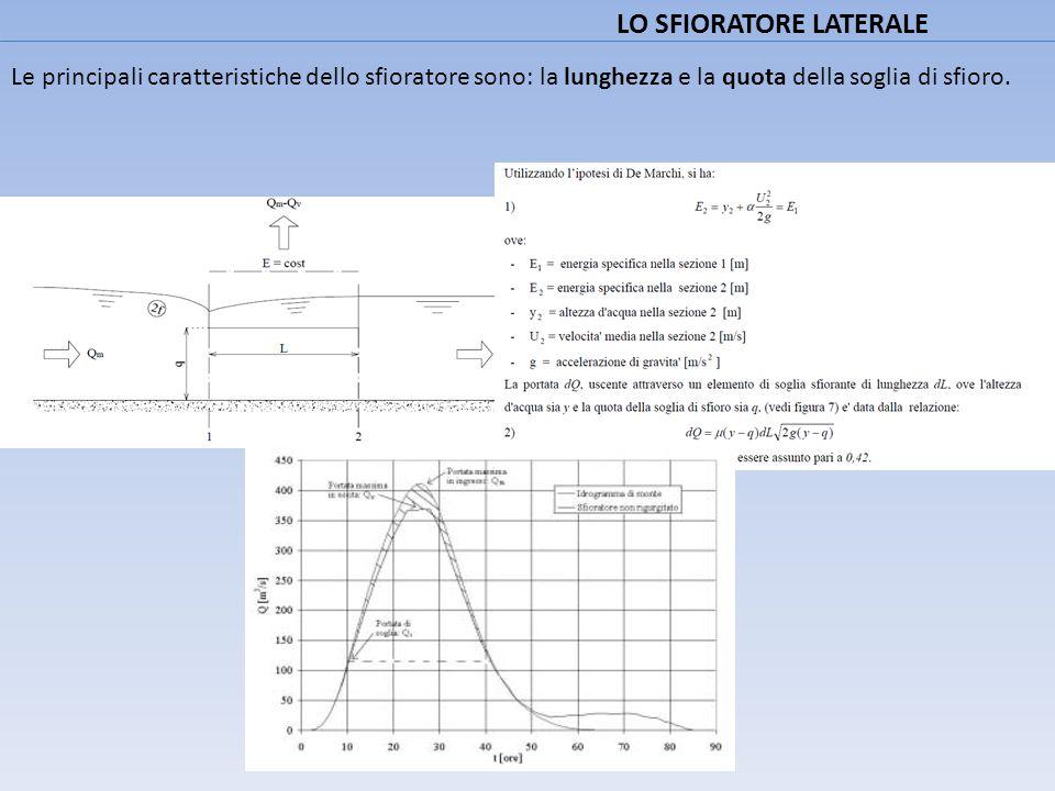 LO SFIORATORE LATERALE Le principali caratteristiche dello sfioratore sono: la lunghezza e la quota della soglia di sfioro.