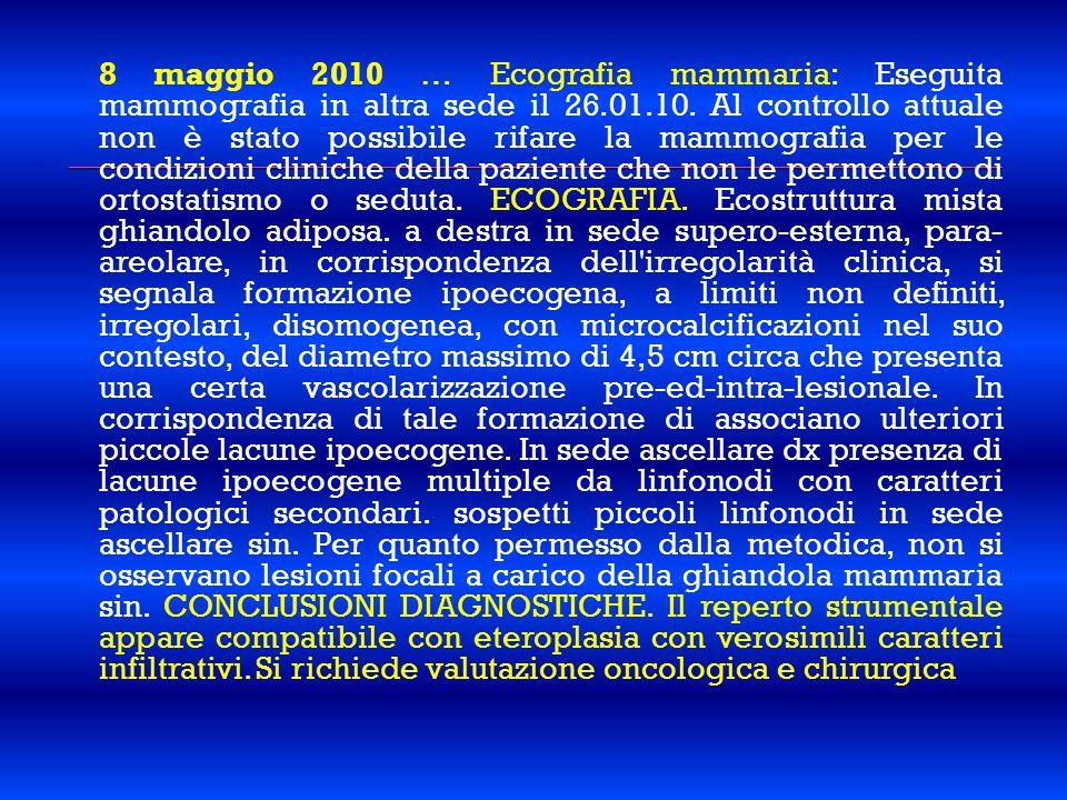8 maggio 2010 … Ecografia mammaria: Eseguita mammografia in altra sede il 26.01.10. Al controllo attuale non è stato possibile rifare la mammografia p
