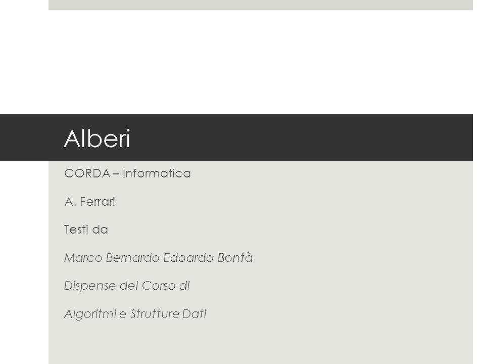 Alberi CORDA – Informatica A. Ferrari Testi da Marco Bernardo Edoardo Bontà Dispense del Corso di Algoritmi e Strutture Dati