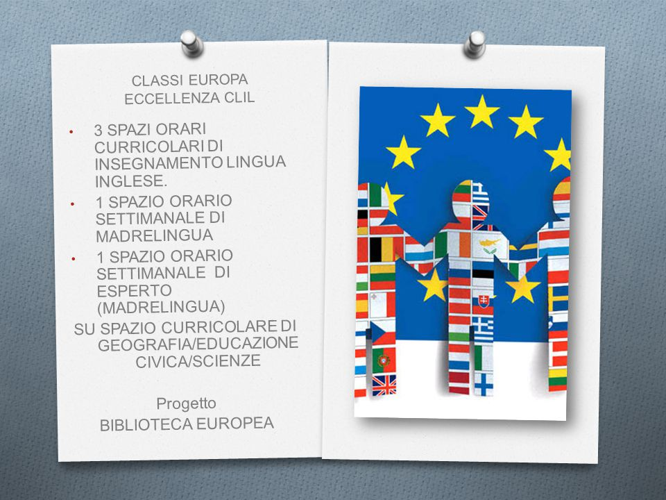 CLASSI EUROPA ECCELLENZA CLIL 3 SPAZI ORARI CURRICOLARI DI INSEGNAMENTO LINGUA INGLESE.