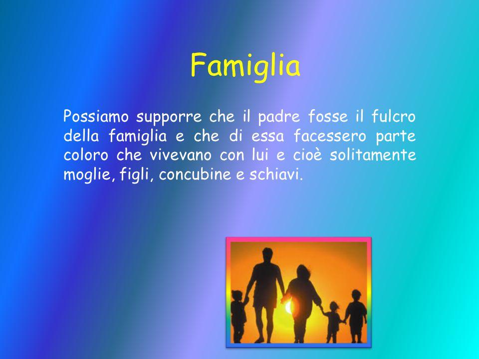 Famiglia Possiamo supporre che il padre fosse il fulcro della famiglia e che di essa facessero parte coloro che vivevano con lui e cioè solitamente mo