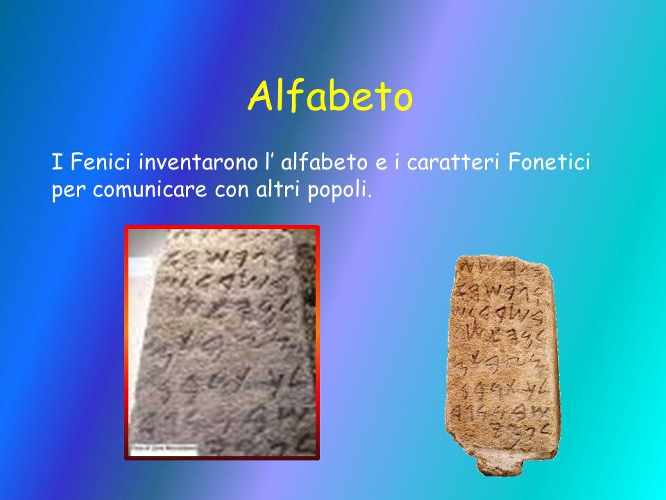 Alfabeto I Fenici inventarono l' alfabeto e i caratteri Fonetici per comunicare con altri popoli.