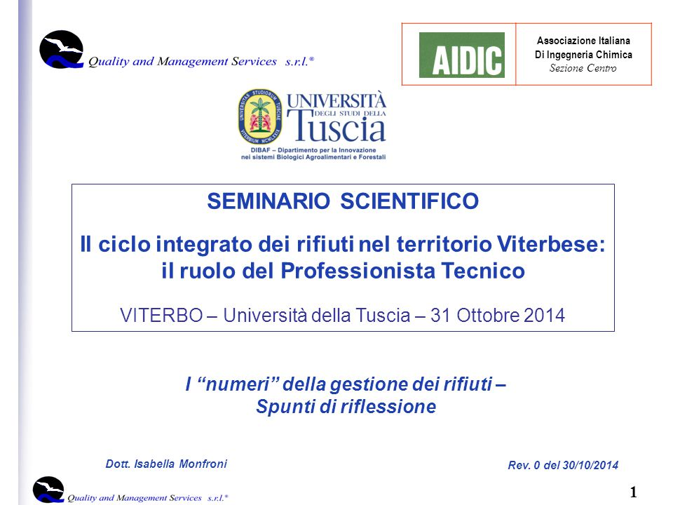 12 Dott.Isabella Monfroni Rev. 0 del 30/10/2014 COME GESTIAMO I RIFIUTI.