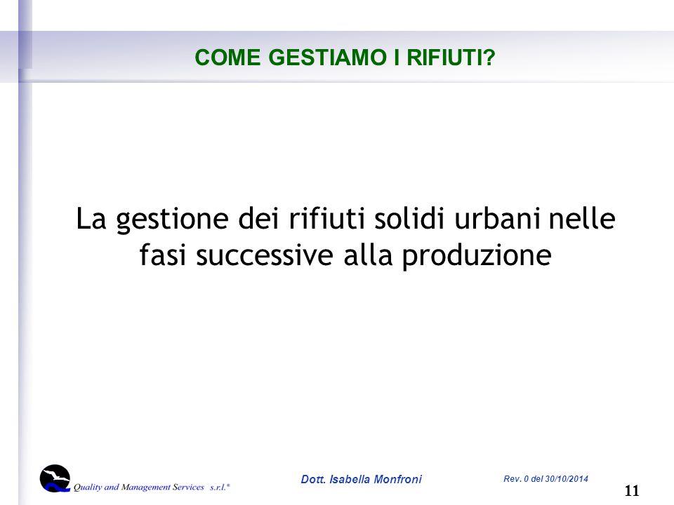 11 Dott. Isabella Monfroni Rev. 0 del 30/10/2014 COME GESTIAMO I RIFIUTI.