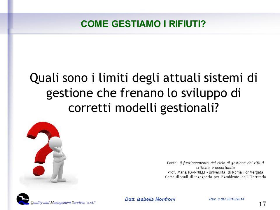 17 Dott. Isabella Monfroni Rev. 0 del 30/10/2014 COME GESTIAMO I RIFIUTI.