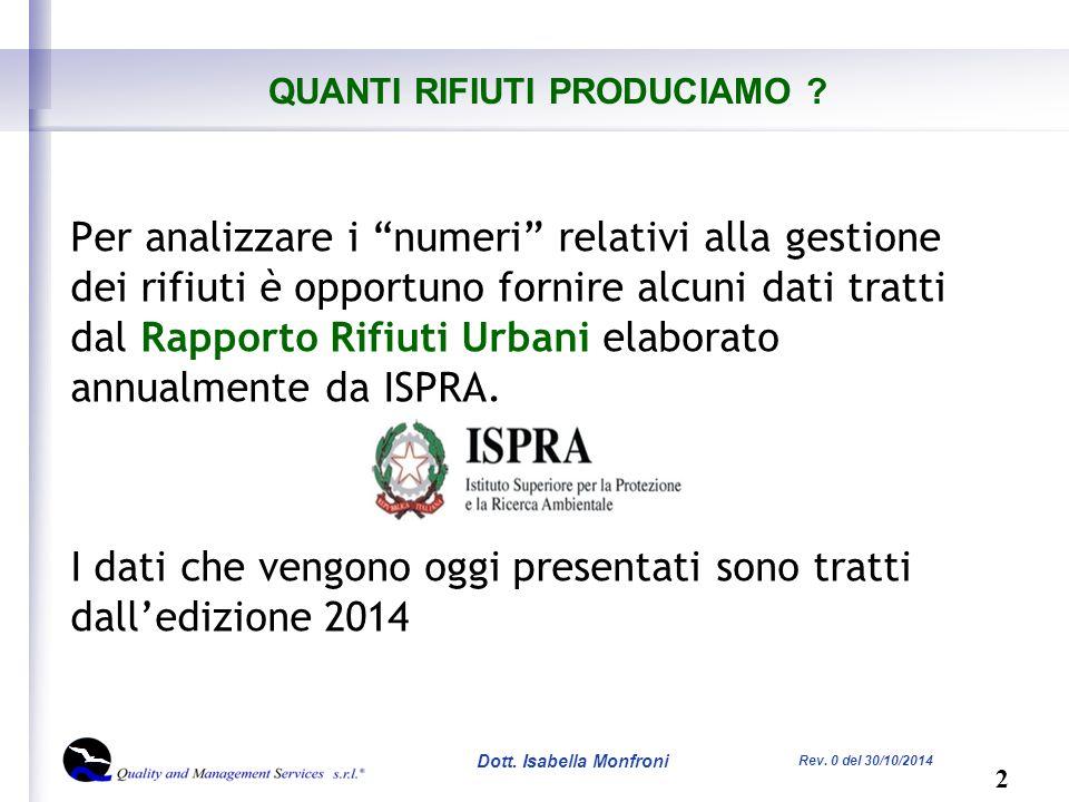 13 Dott. Isabella Monfroni Rev. 0 del 30/10/2014 COME GESTIAMO I RIFIUTI?