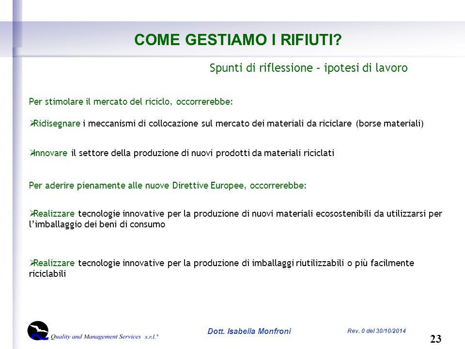 23 Dott. Isabella Monfroni Rev. 0 del 30/10/2014 COME GESTIAMO I RIFIUTI.