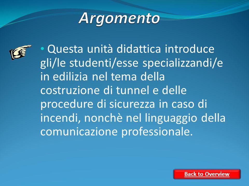 Questa unità didattica introduce gli/le studenti/esse specializzandi/e in edilizia nel tema della costruzione di tunnel e delle procedure di sicurezza in caso di incendi, nonchè nel linguaggio della comunicazione professionale.