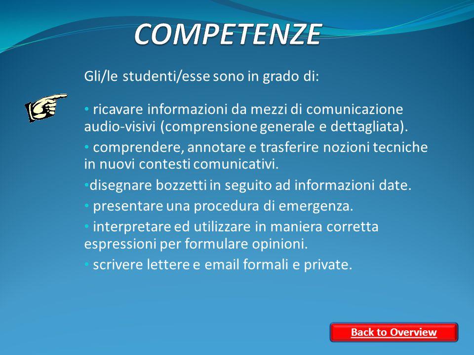 Gli/le studenti/esse sono in grado di: ricavare informazioni da mezzi di comunicazione audio-visivi (comprensione generale e dettagliata).