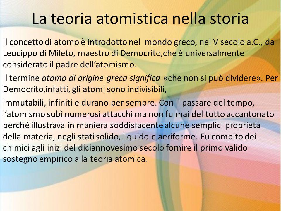 La teoria atomistica nella storia Il concetto di atomo è introdotto nel mondo greco, nel V secolo a.C., da Leucippo di Mileto, maestro di Democrito,ch