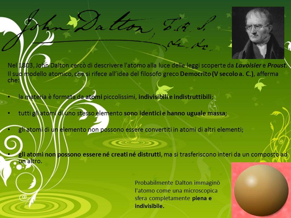 Nel 1803, John Dalton cercò di descrivere l'atomo alla luce delle leggi scoperte da Lavoisier e Proust. Il suo modello atomico, che si rifece all'idea