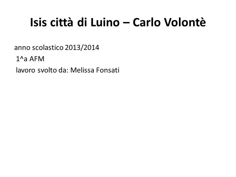Isis città di Luino – Carlo Volontè anno scolastico 2013/2014 1^a AFM lavoro svolto da: Melissa Fonsati
