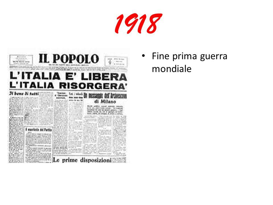1918 Fine prima guerra mondiale