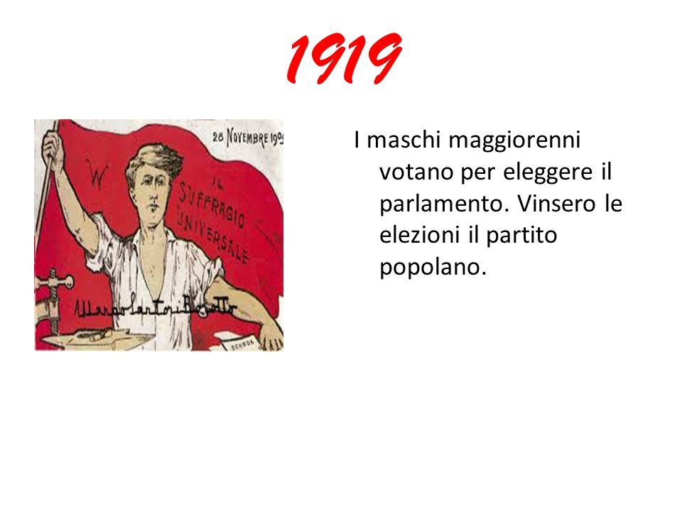 1919 I maschi maggiorenni votano per eleggere il parlamento. Vinsero le elezioni il partito popolano.