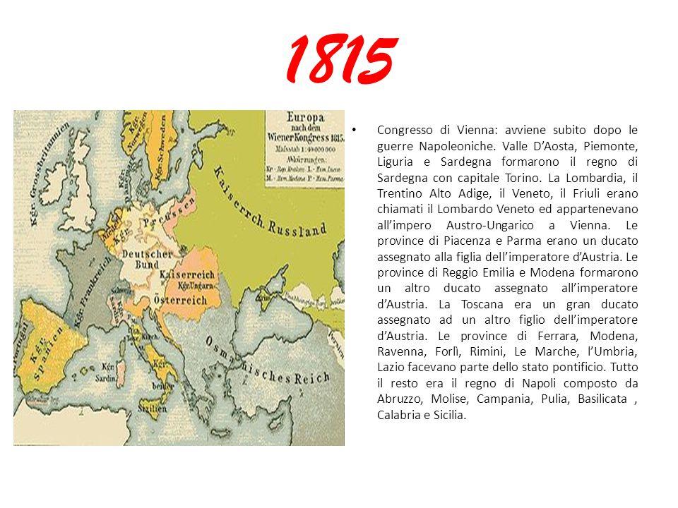 1815 Congresso di Vienna: avviene subito dopo le guerre Napoleoniche. Valle D'Aosta, Piemonte, Liguria e Sardegna formarono il regno di Sardegna con c