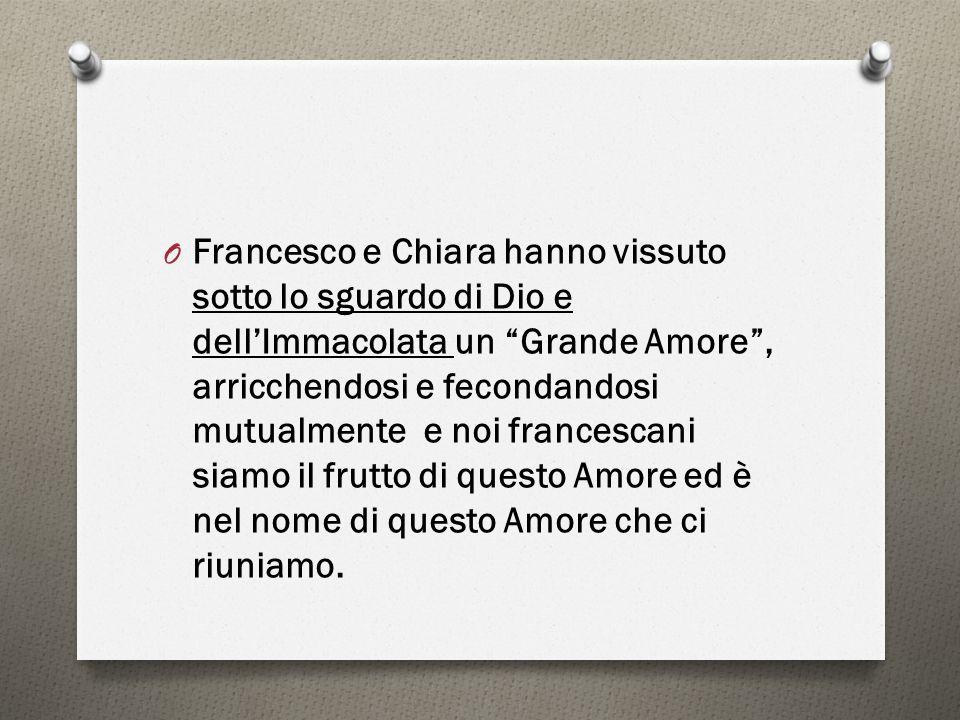 """O Francesco e Chiara hanno vissuto sotto lo sguardo di Dio e dell'Immacolata un """"Grande Amore"""", arricchendosi e fecondandosi mutualmente e noi frances"""