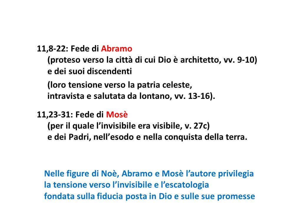 11,8-22: Fede di Abramo (proteso verso la città di cui Dio è architetto, vv. 9-10) e dei suoi discendenti (loro tensione verso la patria celeste, intr