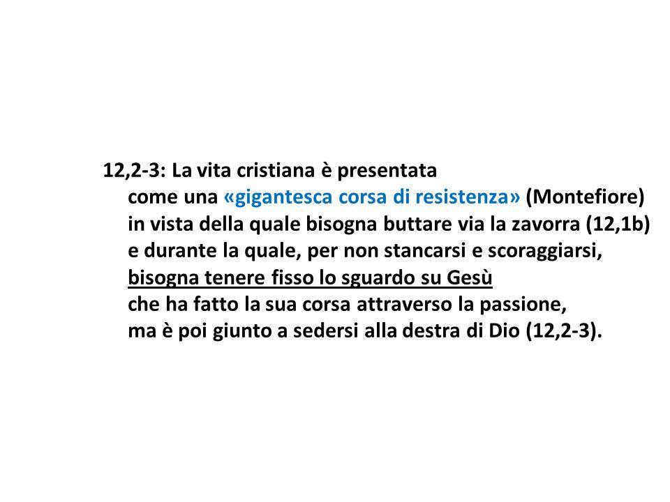 12,2-3: La vita cristiana è presentata come una «gigantesca corsa di resistenza» (Montefiore) in vista della quale bisogna buttare via la zavorra (12,
