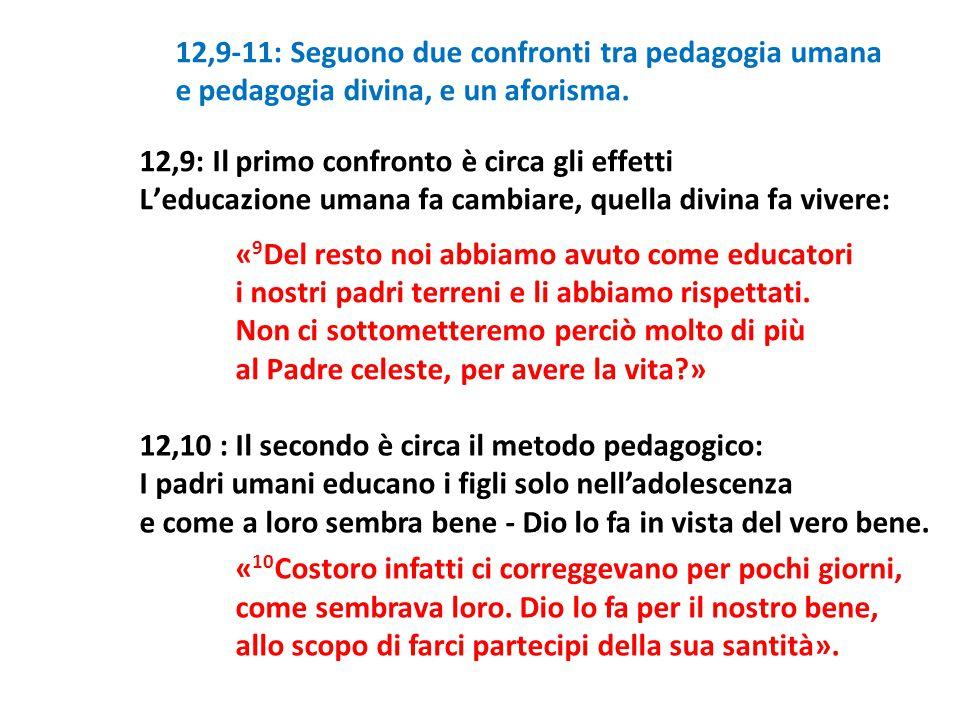 12,9-11: Seguono due confronti tra pedagogia umana e pedagogia divina, e un aforisma. 12,9: Il primo confronto è circa gli effetti L'educazione umana
