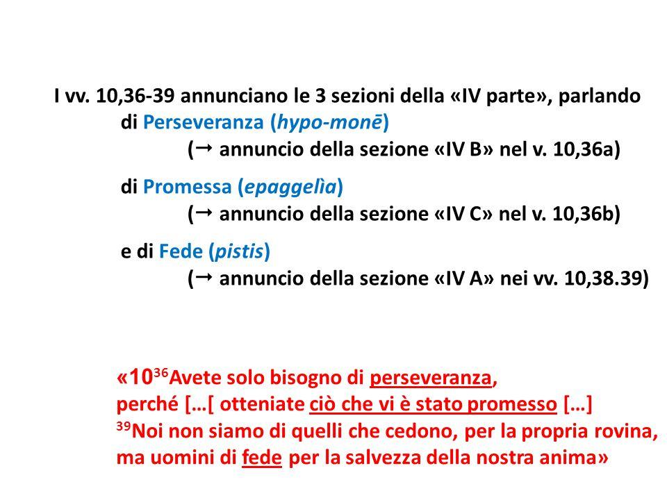 I vv. 10,36-39 annunciano le 3 sezioni della «IV parte», parlando di Perseveranza (hypo-monē) (  annuncio della sezione «IV B» nel v. 10,36a) di Prom