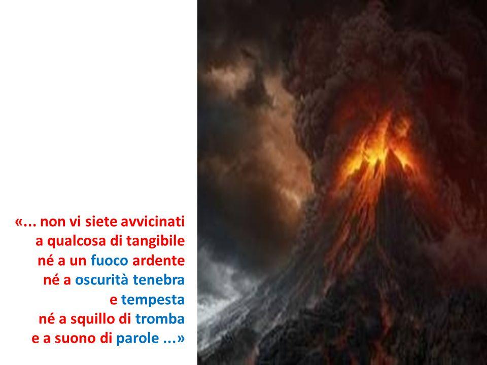 «... non vi siete avvicinati a qualcosa di tangibile né a un fuoco ardente né a oscurità tenebra e tempesta né a squillo di tromba e a suono di parole