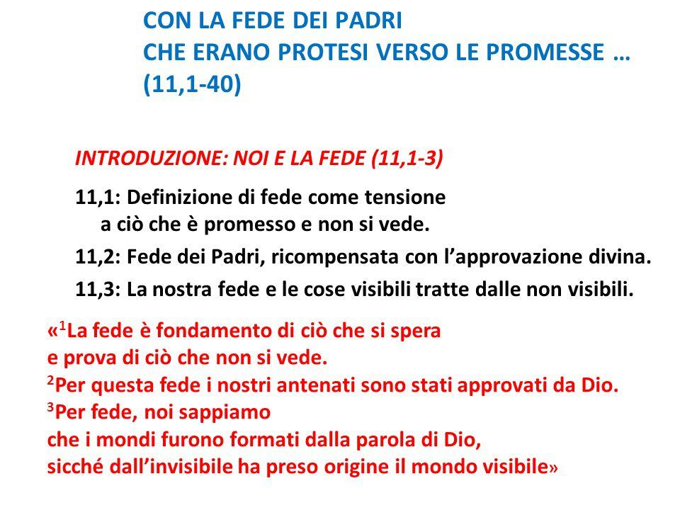 CON LA FEDE DEI PADRI CHE ERANO PROTESI VERSO LE PROMESSE … (11,1-40) INTRODUZIONE: NOI E LA FEDE (11,1-3) 11,1: Definizione di fede come tensione a c