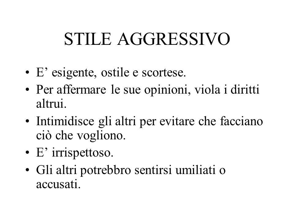 STILE AGGRESSIVO E' esigente, ostile e scortese.
