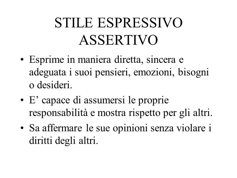 STILE ESPRESSIVO ASSERTIVO Esprime in maniera diretta, sincera e adeguata i suoi pensieri, emozioni, bisogni o desideri.