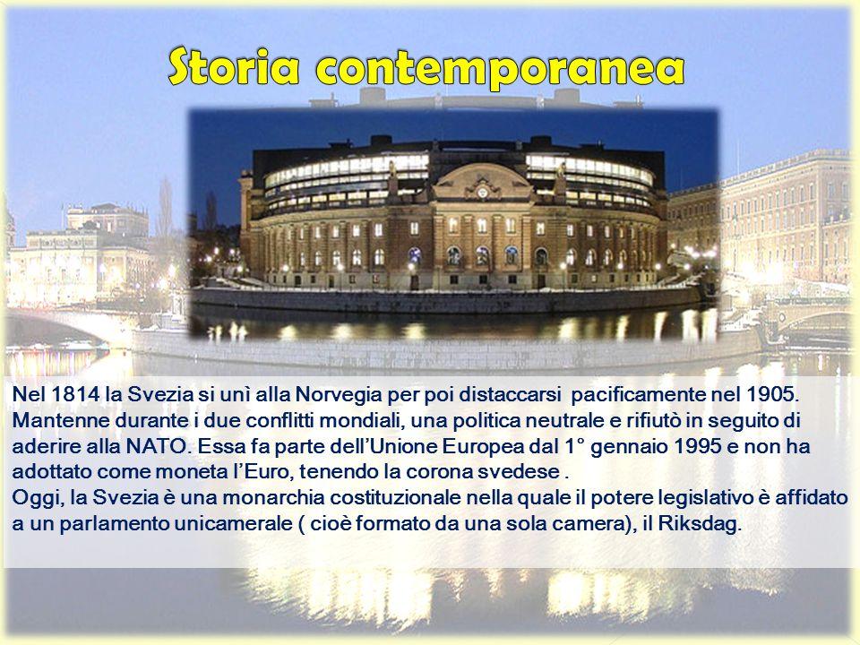 Nel 1814 la Svezia si unì alla Norvegia per poi distaccarsi pacificamente nel 1905. Mantenne durante i due conflitti mondiali, una politica neutrale e