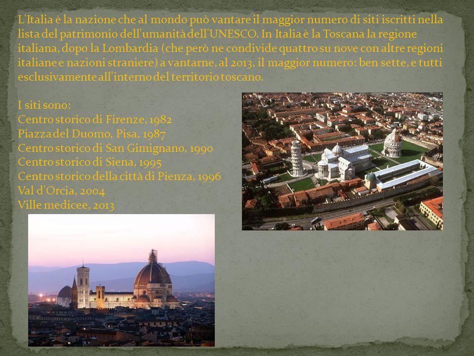 L'Italia è la nazione che al mondo può vantare il maggior numero di siti iscritti nella lista del patrimonio dell'umanità dell'UNESCO. In Italia è la