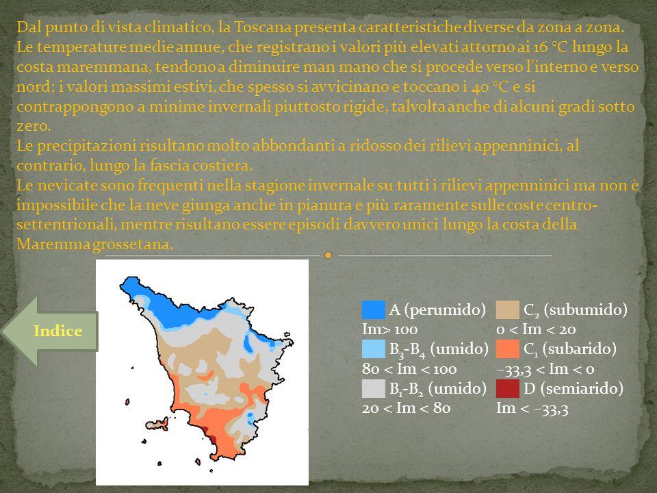 Dal punto di vista climatico, la Toscana presenta caratteristiche diverse da zona a zona. Le temperature medie annue, che registrano i valori più elev