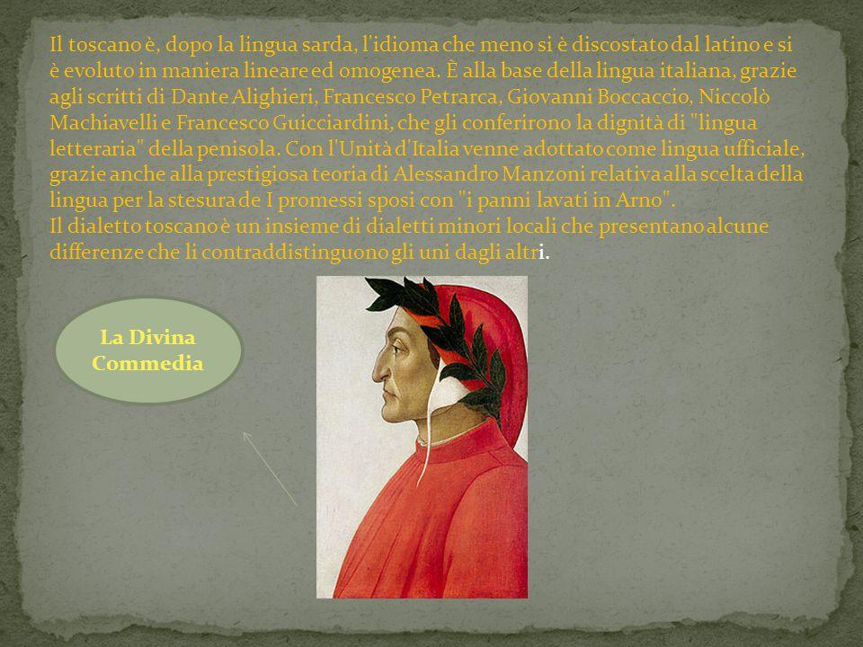 Il toscano è, dopo la lingua sarda, l'idioma che meno si è discostato dal latino e si è evoluto in maniera lineare ed omogenea. È alla base della ling