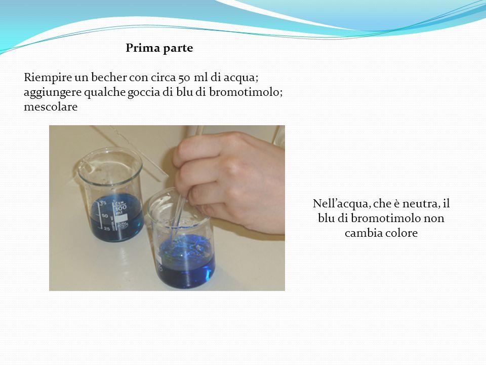 Prima parte Riempire un becher con circa 50 ml di acqua; aggiungere qualche goccia di blu di bromotimolo; mescolare Nell'acqua, che è neutra, il blu di bromotimolo non cambia colore