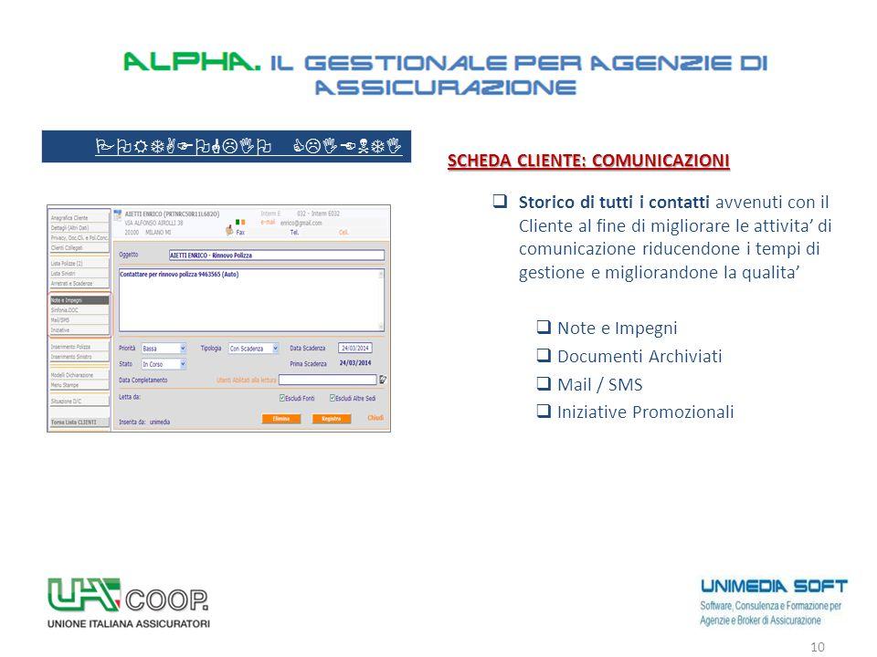 SCHEDA CLIENTE: COMUNICAZIONI  Storico di tutti i contatti avvenuti con il Cliente al fine di migliorare le attivita' di comunicazione riducendone i
