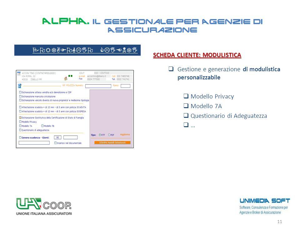 SCHEDA CLIENTE: MODULISTICA  Gestione e generazione di modulistica personalizzabile  Modello Privacy  Modello 7A  Questionario di Adeguatezza  …