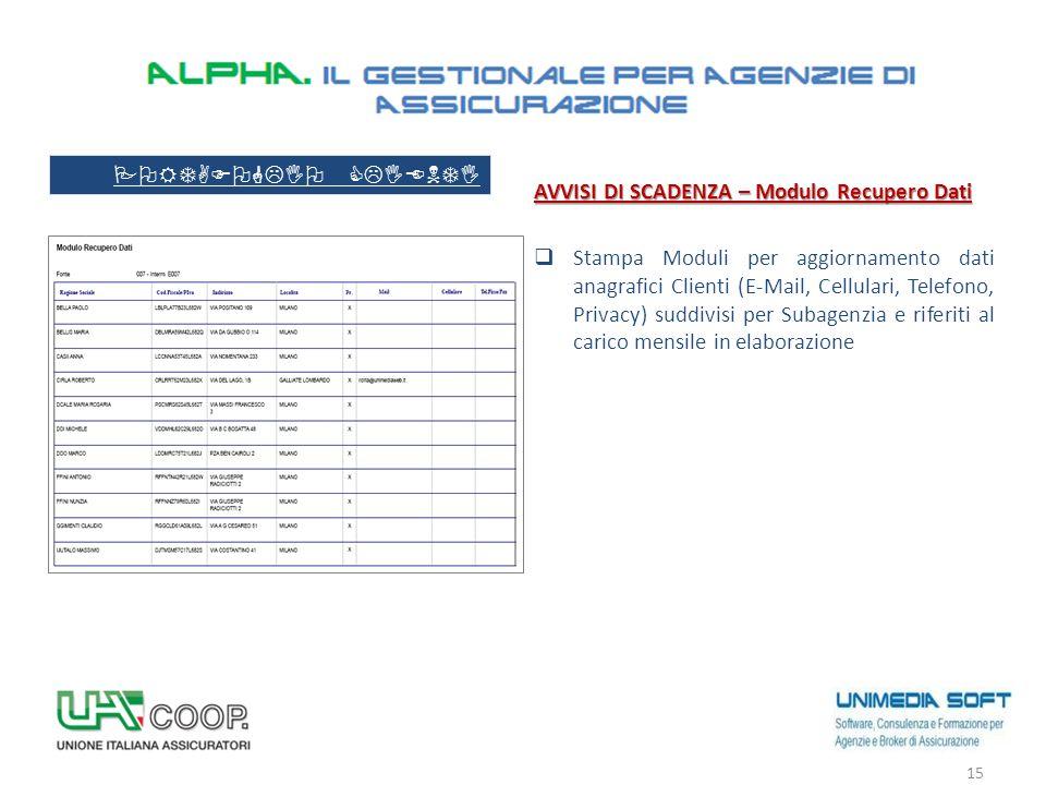 AVVISI DI SCADENZA – Modulo Recupero Dati  Stampa Moduli per aggiornamento dati anagrafici Clienti (E-Mail, Cellulari, Telefono, Privacy) suddivisi p