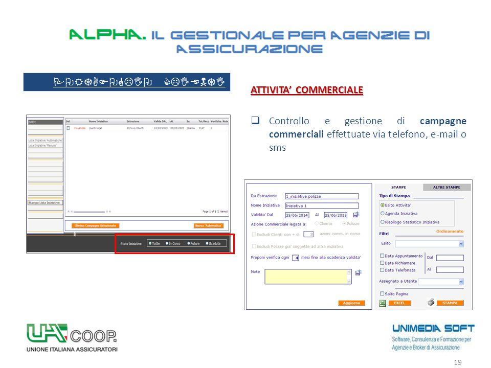 ATTIVITA' COMMERCIALE  Controllo e gestione di campagne commerciali effettuate via telefono, e-mail o sms 19 PORTAFOGLIO CLIENTI