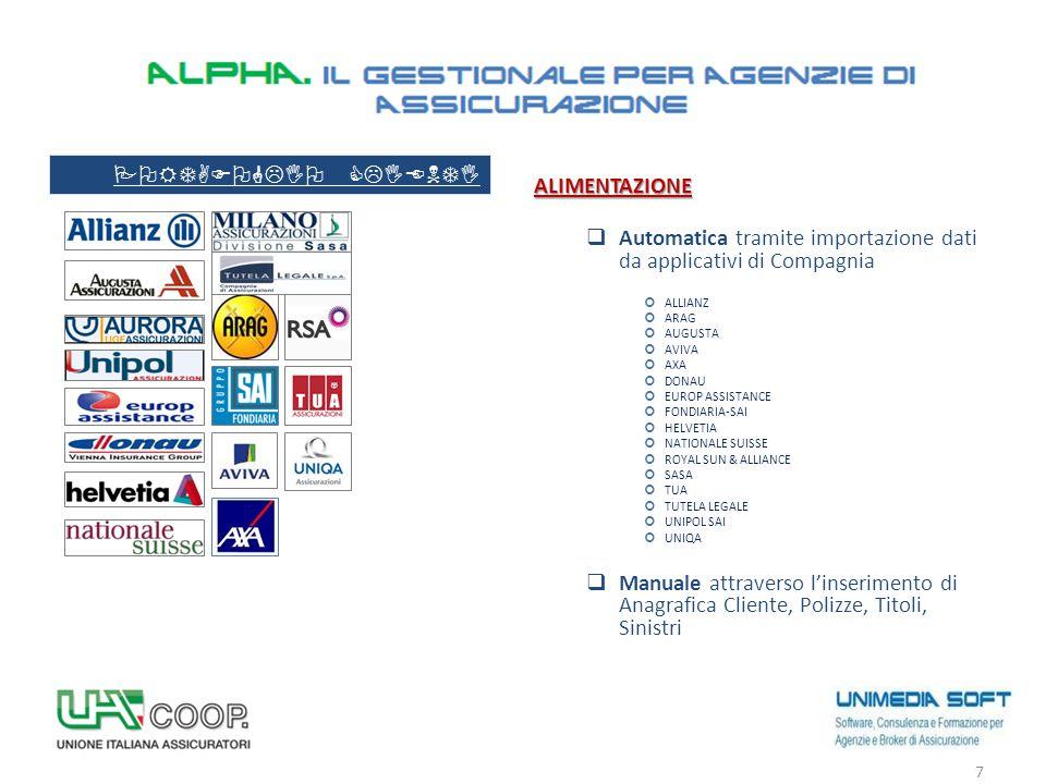 ALIMENTAZIONE  Automatica tramite importazione dati da applicativi di Compagnia ALLIANZ ARAG AUGUSTA AVIVA AXA DONAU EUROP ASSISTANCE FONDIARIA-SAI H