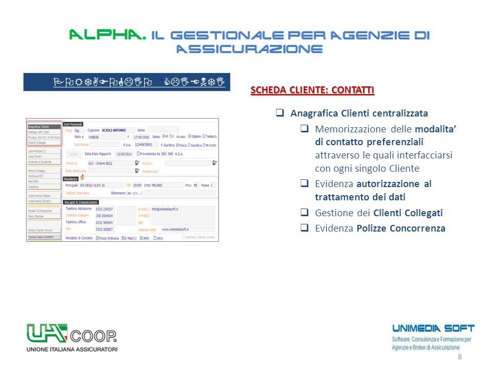 SCHEDA CLIENTE: CONTATTI  Anagrafica Clienti centralizzata  Memorizzazione delle modalita' di contatto preferenziali attraverso le quali interfaccia