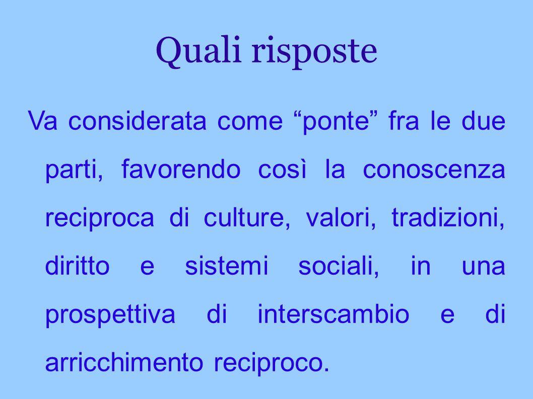 """Quali risposte Va considerata come """"ponte"""" fra le due parti, favorendo così la conoscenza reciproca di culture, valori, tradizioni, diritto e sistemi"""