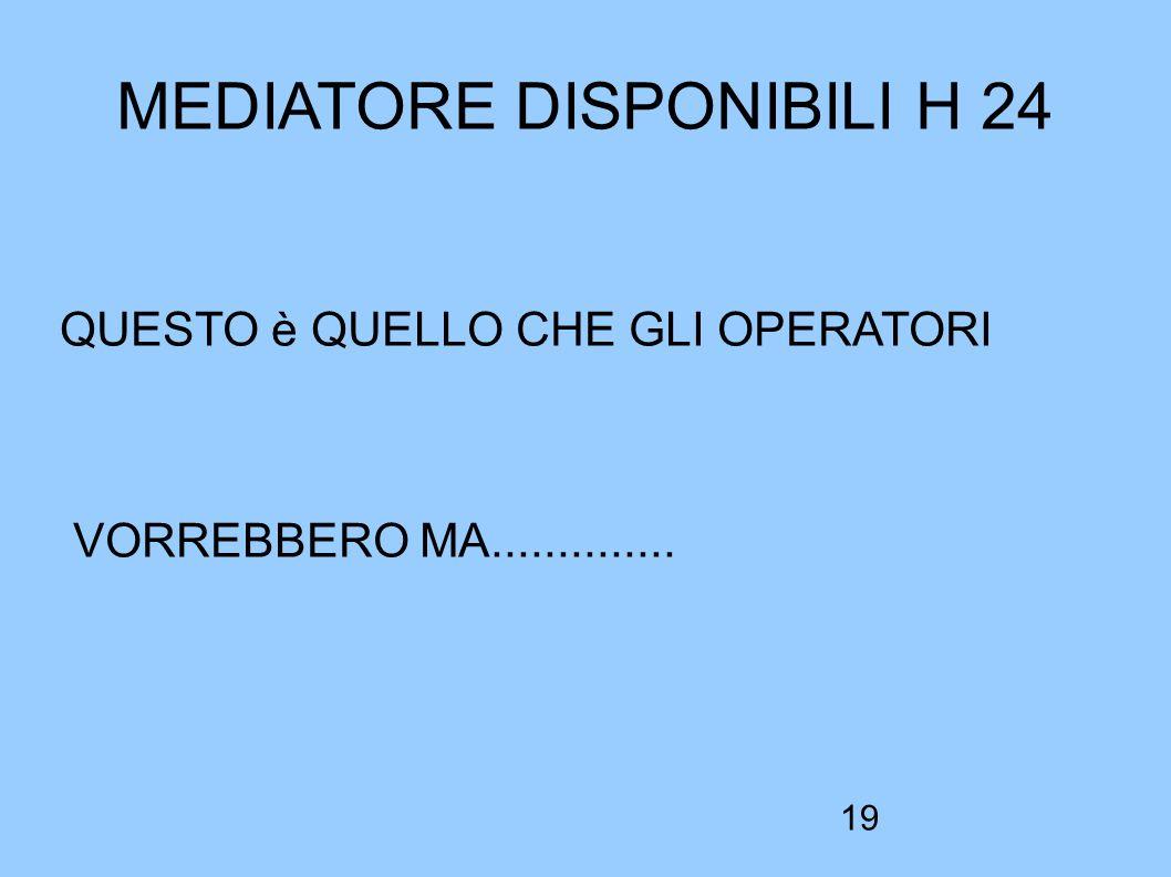 19 MEDIATORE DISPONIBILI H 24 QUESTO è QUELLO CHE GLI OPERATORI VORREBBERO MA..............